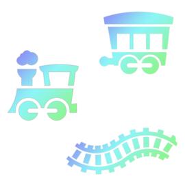Stencil trein JEM set 3 st