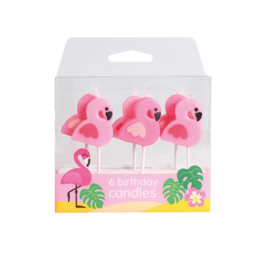 Flamingo candles 6pcs