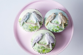 Cupcake Top Love Birds by Karen Davies