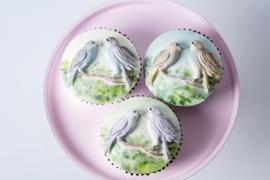 Cupcake top Love Birds by Karen Davies