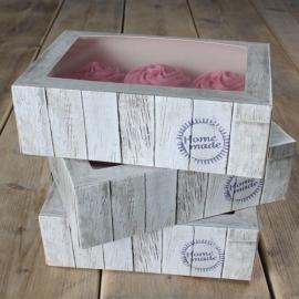 Cupcake doos houtlook voor 6 cupcakes set 3 dozen