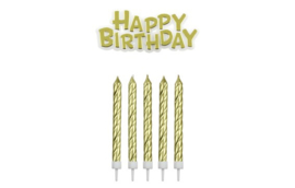 Gold Happy Birthday candle set 16 st + happy birthday