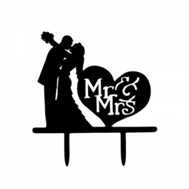Cake topper Acryl Mr & Ms (kiss)