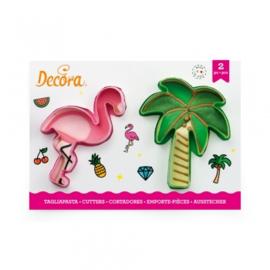 Flamingo en palmboom cutters 2 st