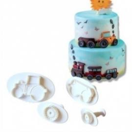 Tractor met aanhangwagen plunger/cutter