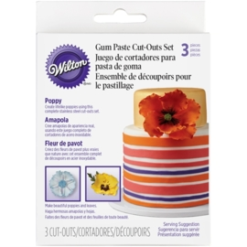 Gum paste cut-out set Poppy set 3 st