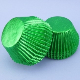 Cake cups  METALLIC GROEN-House of Marie 24 st