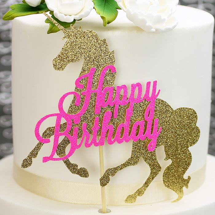 Glitter unicorn gold/pink Happy Birthday cake topper