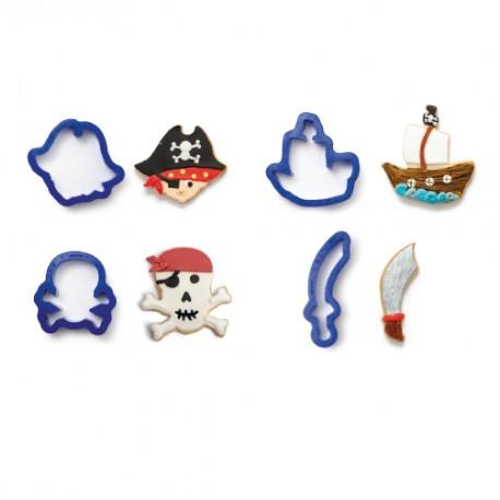 Jeu emporte-pièces pirates et corsaires 4 pcs