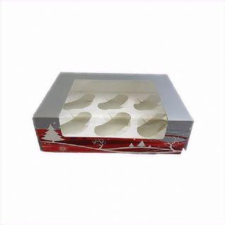 Cupcake box Christmas vr 6 cakjes