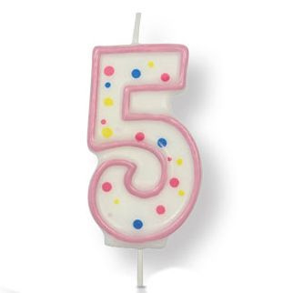 Kaars cijfer 5 (roze) - PME Large Candle Pink
