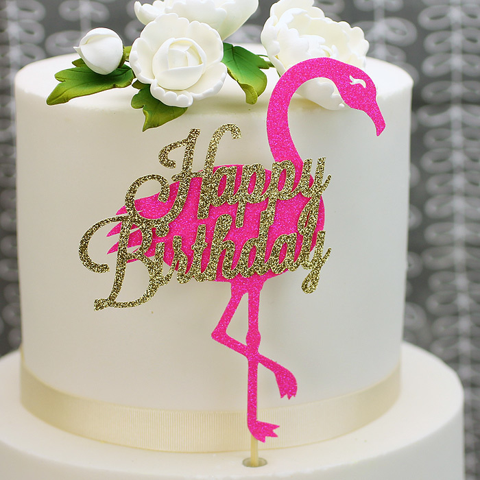 Glitter FLamingo pink/gold Happy Birthday cake topper