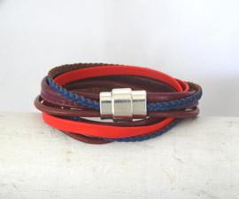 (Wikkel)armband Bordeaux, oranje, kobalt