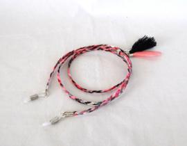 Zonnebril koordje van 3mm leer, zwart/roze/rood/grijs gemeleerd