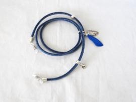 Zonnebril koordje van rondgestikt middenblauw jeanskoord