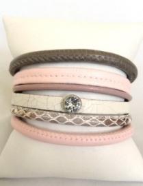 Armband Hipanemastijl leer roze / taupe/ wit