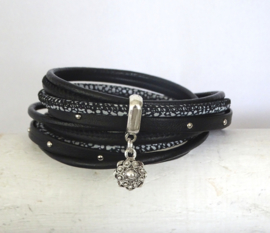 (Wikkel)armband zwart met Zeeuwse knop hanger