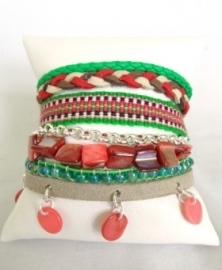 Armband Hipanema stijl aqua/turquoise/taupe