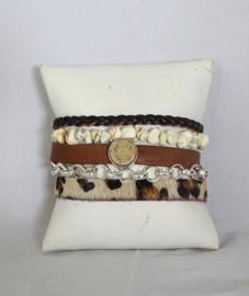 Hipanema armband cognac/ off white/ panterprint