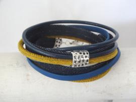 (Wikkel)armband donkerblauw, kobaltblauw en geel (verstelbaar, dus zeer geschikt als cadeautje)