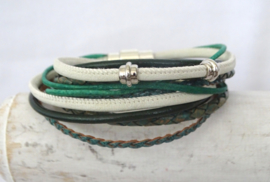 (Wikkel)armband donkergroen, turquoisegroen, off white