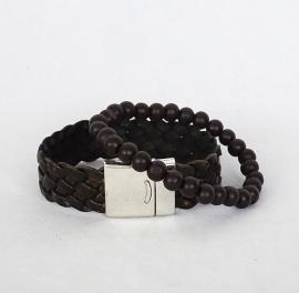Gevlochten armband met stoer magneet slot (2 cm breed leer)