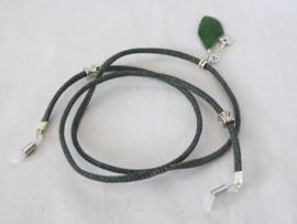Zonnebril koordje van rondgestikt groen denimkoord
