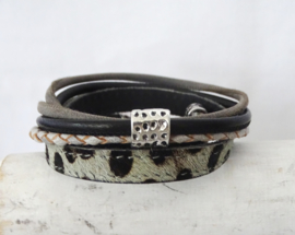(Wikkel)armband Dalmatiër, grijs/zwart (verstelbaar, dus zeer geschikt als cadeautje)