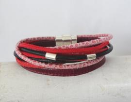 (Wikkel)armband bordeax, roze, rood en zwart