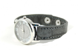 Klein grijs croco horloge