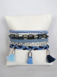 Hipanema armband jeansblauw met kwastjes