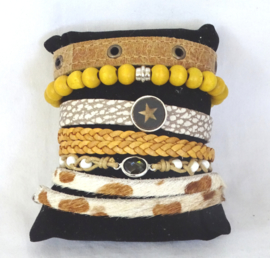Gevlochten armbandje met steentje in midden