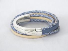 Halve slavenarmband jeansblauw/zand