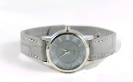 Klein licht grijs croco horloge