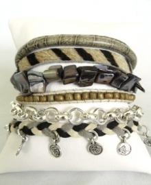 Armband Hipanema stijl zwart / off white / beige