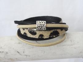 (Wikkel)armband Dalmatiër, zand/zwart (verstelbaar, dus zeer geschikt als cadeautje)