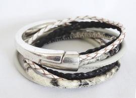Halve metalen slavenarmband zwart/wit reptiel
