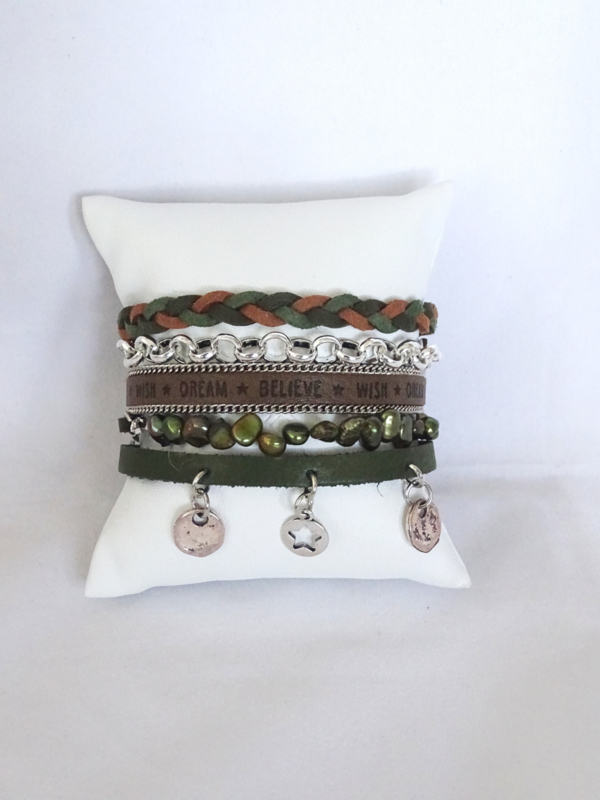Hipanema armband armygroen