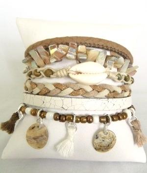 Armband Hipanema stijl off white/ beige / brons