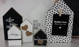 DIY pakket huisjes zwart wit
