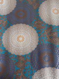 11. Blauw bruine bloemen behang