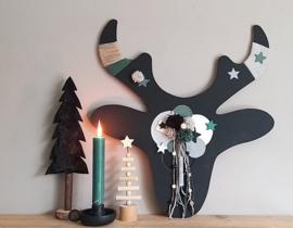 DIY Kerst rendier zwart groen