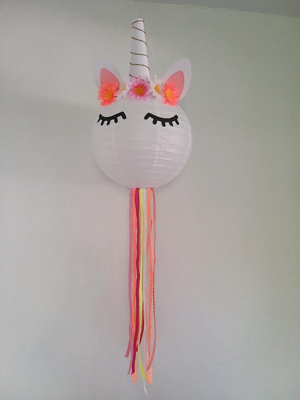 DIY kids pakket Unicorn lamp neon oranje