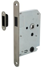 Intersteel Woningbouw magneet badkamer/toilet slot 63/8mm voorplaat afgerond rvs