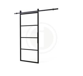 Schuifdeur Cubo Zwart incl. Transparant Glas 215x98x2,8 cm + Zwart Ophangsysteem Basic