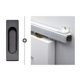 Schuifdeur pakket SlimSeries hang- en sluitwerk 520 - Deurkom Recta Mat Zwart