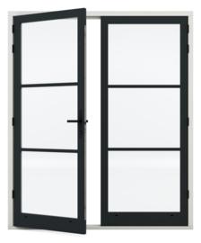 Dubbele deurenset Staal Sleutelbediend zwart scharnier (Links actief)