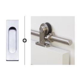 Schuifdeur pakket SlimSeries hang- en sluitwerk 525 - Deurkom Recta Mat Chroom
