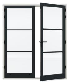 Dubbele deurenset Staal Sleutelbediend zwart scharnier (Rechts actief)