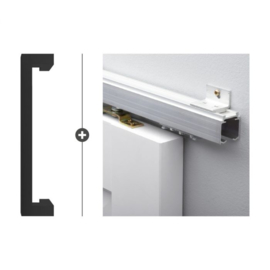 Schuifdeur pakket Slimserie ULTRA hang en sluit 538 - Deurgreep Tupelo mat zwart
